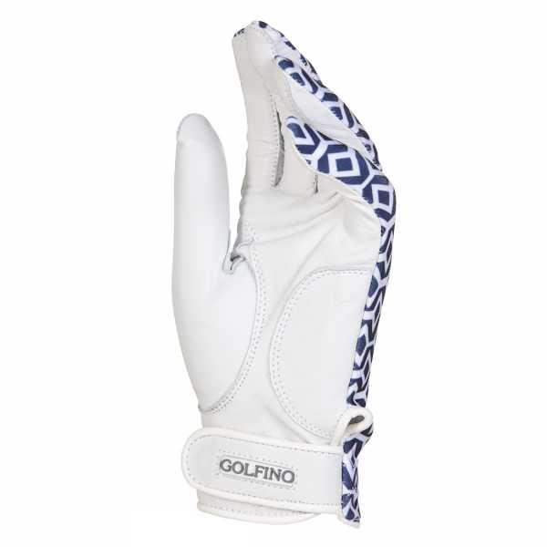 Golfino Leder Golfhandschuh weiß/blau