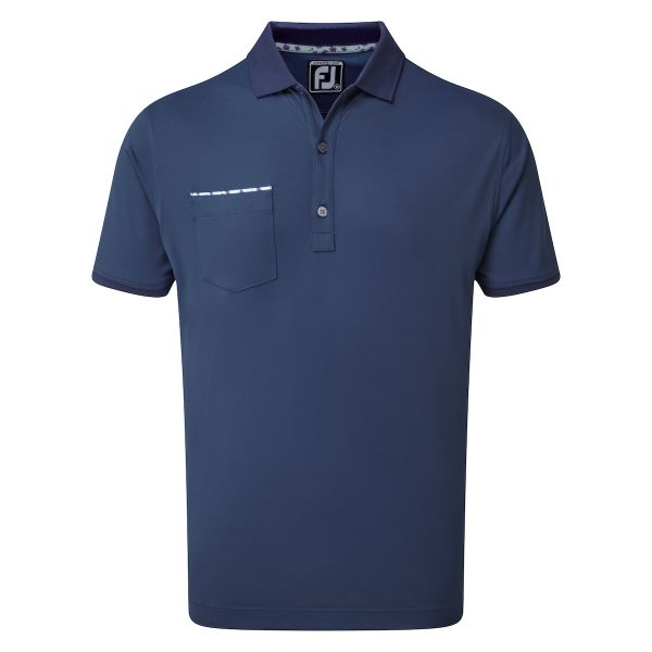 Footjoy Super Stretch Pique with Floral Print Trim & Knit Collar Polo Herren navy