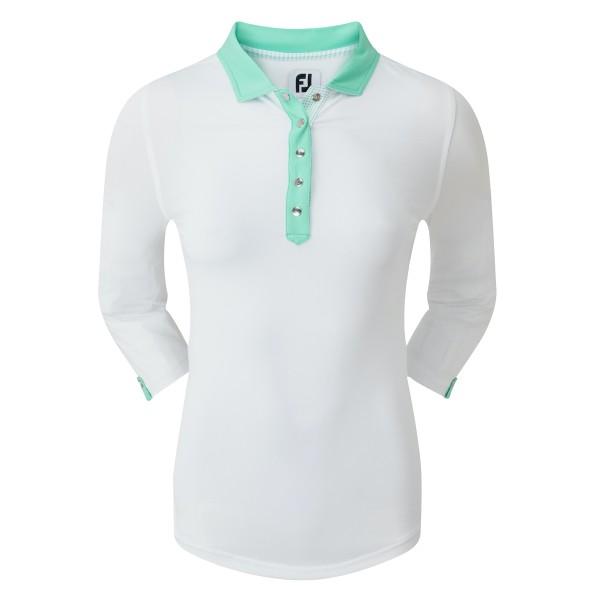 Footjoy Baby Pique 3/4 Sleeve Shirt Polo Damen weiß/grün