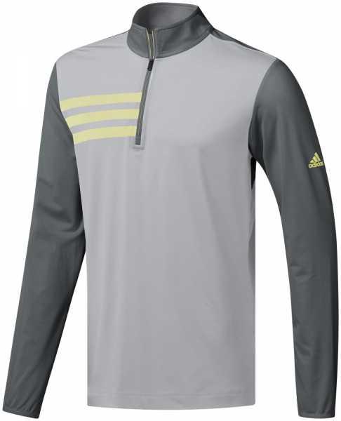 adidas 3-Stripes Halfzip Layer Herren grau/gelb