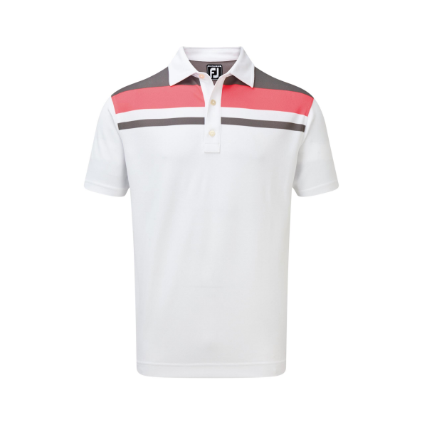 Footjoy Stretch Pique Colour Block Yoke Polo Herren weiß/pink