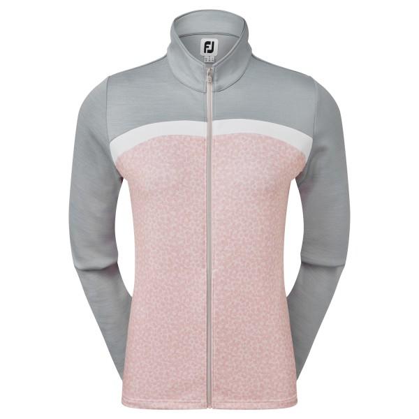 Footjoy Full-Zip Curved Block Mid-Layer Pullover Damen lachs/grau