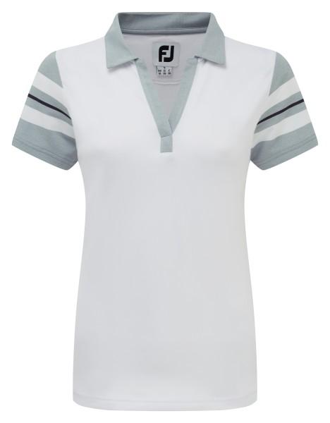 Footjoy Baby Pique Sleeve Stripe Polo Damen weiß/grau/navy
