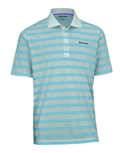 TaylorMade Limited Edition Pique Striped Polo Herren grau/blau