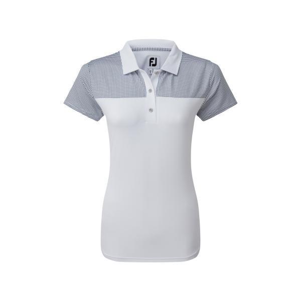 Footjoy Lisle Shirt with Dot Print Yoke Polo Damen weiß/navy