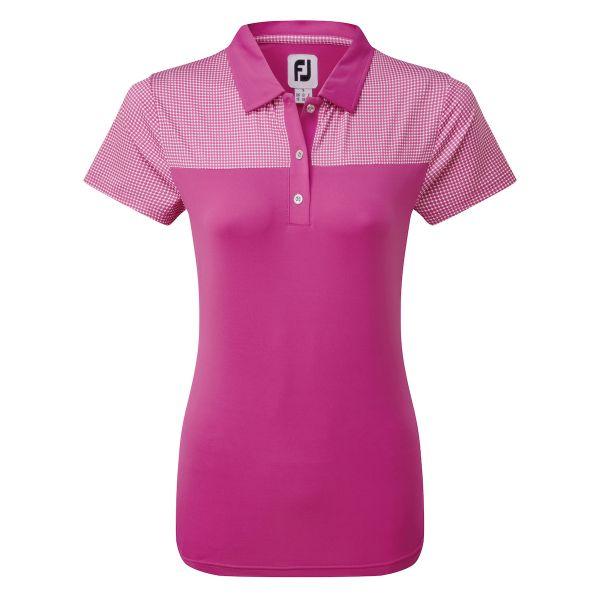 Footjoy Lisle Shirt with Dot Print Yoke Polo Damen rosa/weiß