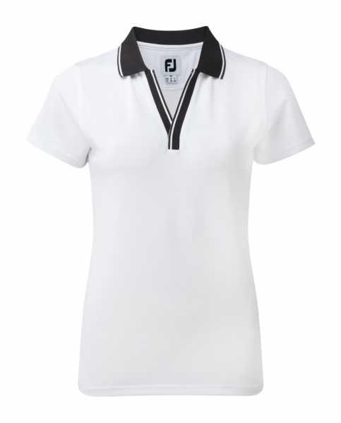 Footjoy Stretch Pique Polo V-Neck Damen weiß/schwarz