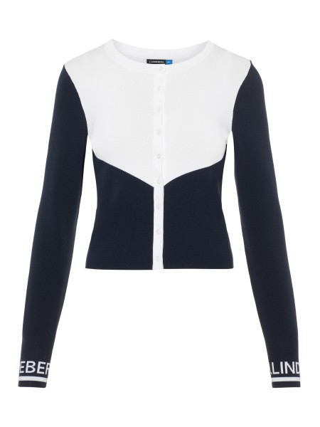 J. Lindeberg Melody-Viscose Nylon Pullover Damen navy/weiß
