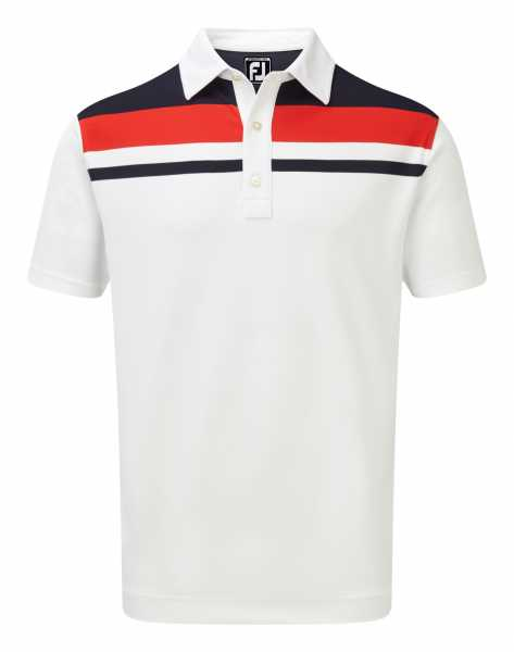 Footjoy Stretch Pique Colour Bloke Yoke Polo Herren weiß/navy