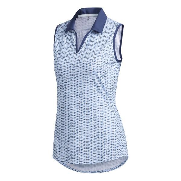 adidas Ultimate Printed Sleeveless Polo Damen weiß/blau