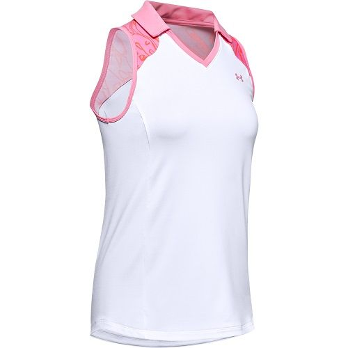 Under Armour Zinger sleeveless bocked Polo Damen weiß/pink