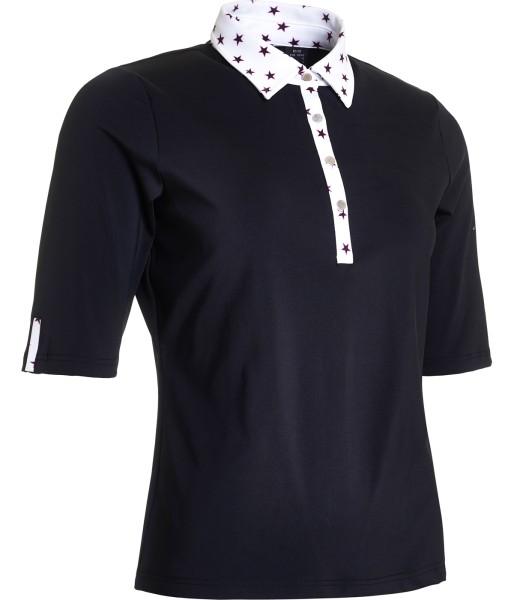 Abacus Emy 1/2 Sleeve Polo Damen schwarz/weiß