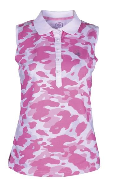 Girls Golf Camo Pink sleeveless Polo Damen weiß