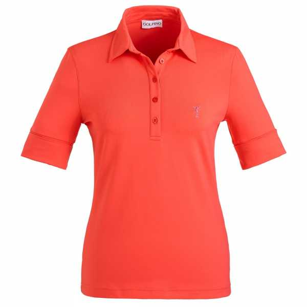 Golfino Kurzarm Damen Poloshirt mit Sonnenschutz Papaya organge