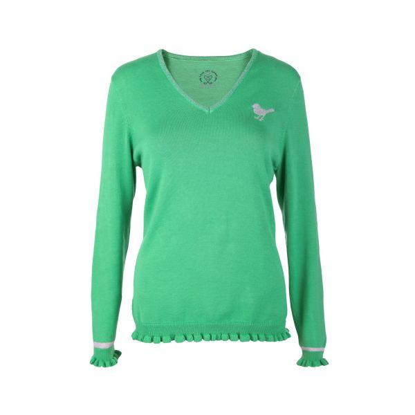 Girls Golf V-Neck Ruffle Pullover Damen grün