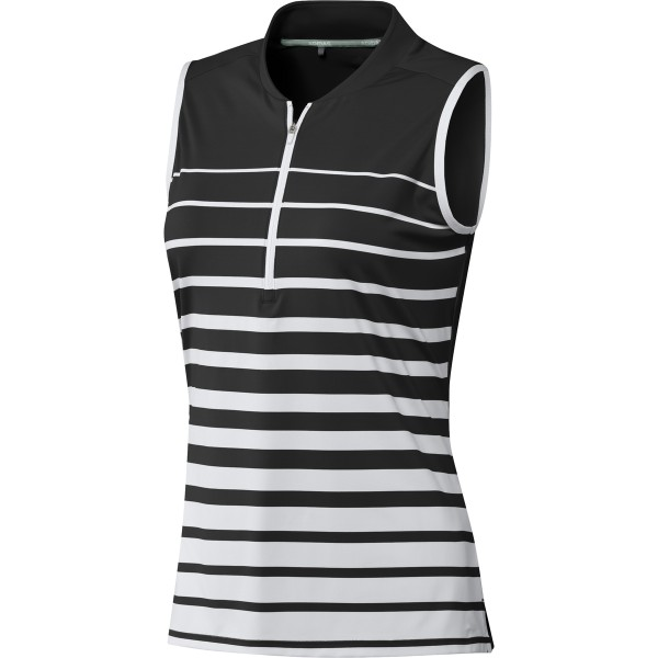 adidas Engineered Stripe Sleeveless Polo Damen schwarz/weiß