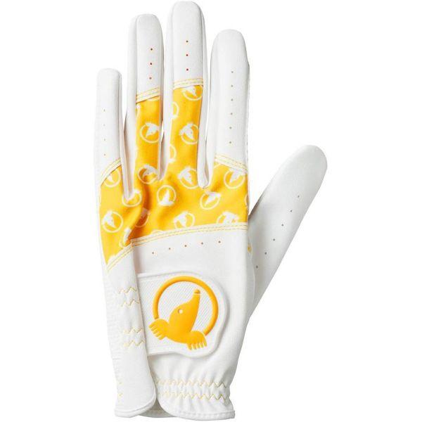 Honma Damen Paar Handschuhe weiß/gelb