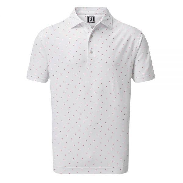 Footjoy Smooth Pikee mit FJ-Logo Aufdruck Polo Herren weiß/rosa