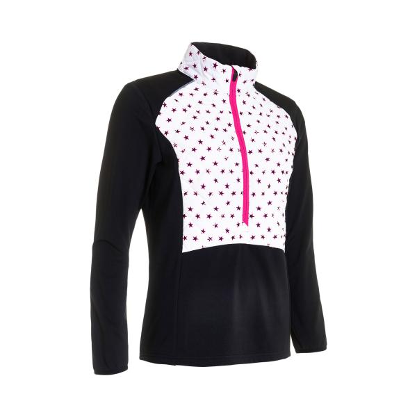 Abacus Troon Hybrid 1/2-Zip Pullover Damen schwarz/weiß