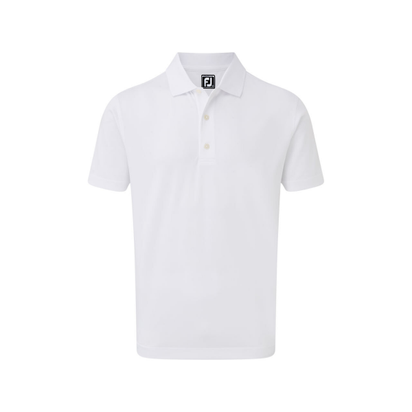 Footjoy Stretch Pique Solid Rib Knit Collar Polo Herren weiß