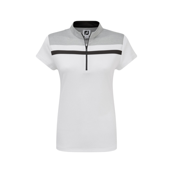 Footjoy Micro Interlock Colour Block Polo Damen weiß/grau/schwarz