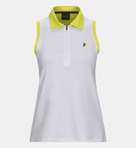 Peak Performance ZIP Sleeveless Polo Damen weiß/gelb
