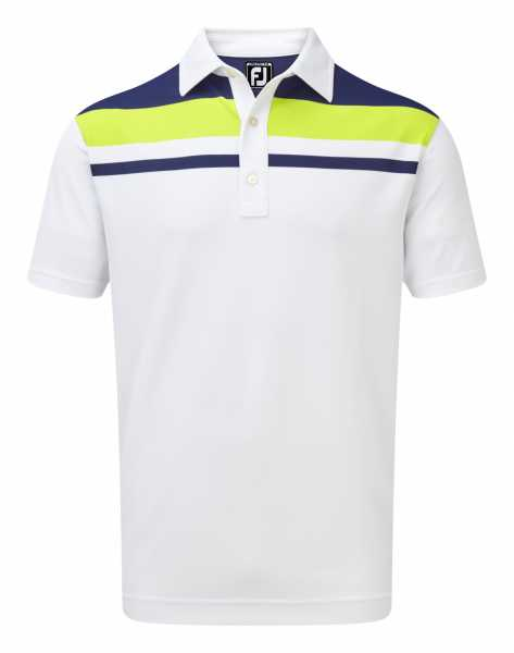 Footjoy Stretch Pique Colour Block Yoke weiß/blau/gelb