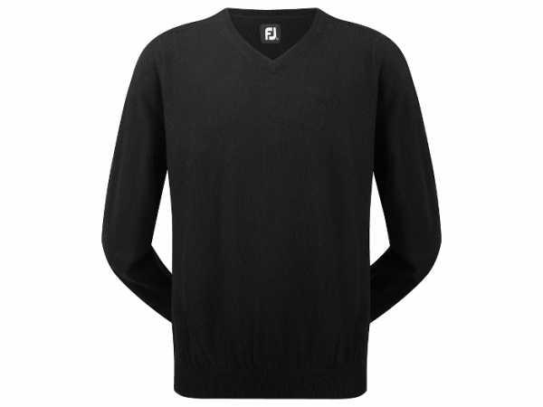 Footjoy Lammwolle Pullover V-Neck Herren schwarz mit Valley-Logo