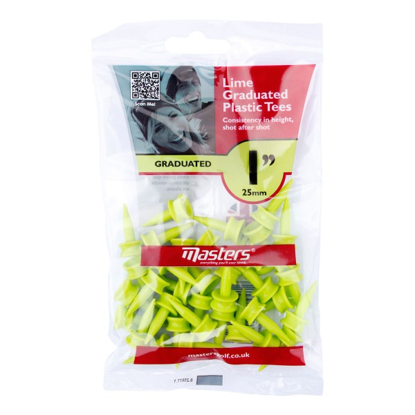 """Masters Plastic Graduated Tees 25 Stück - 1"""""""