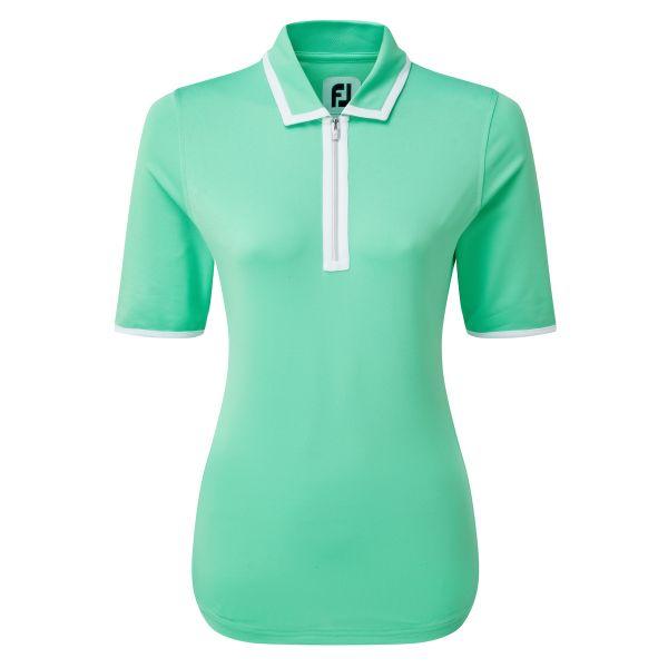 Footjoy Zip Placket Pique 1/2 Sleeve Shirt Polo Damen grün/weiß