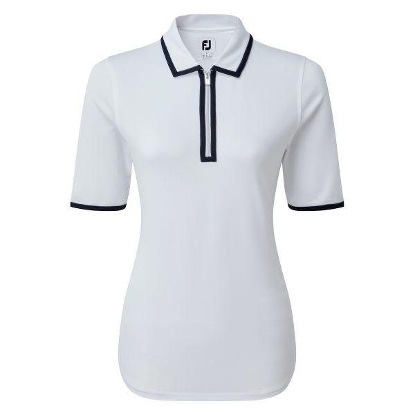 Footjoy Zip Placket Pique 1/2 Sleeve Shirt Polo Damen weiß/navy