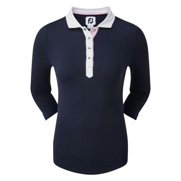 Footjoy Baby Pique 3/4 Sleeve Shirt Polo Damen navy/weiß