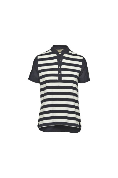Spoon Back Ruffle Block Stripe Polo Damen navy/weiß