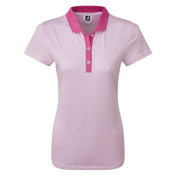 Footjoy Cap Sleeve Micro Interlock Dot Print Polo Damen rosa