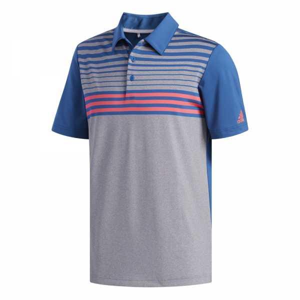 adidas Ultimate365 3 Stripes Heather Polo Herren grau/marine-blau