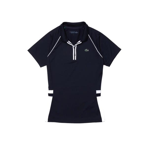Lacoste Short Sleeve Ribbed Collar Shirt Damen navy/weiß