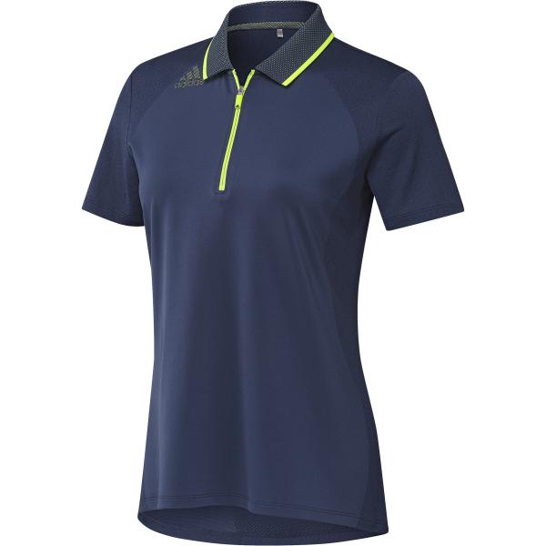 adidas Aeroready Engineered Shorts Sleeve Polo Damen blau