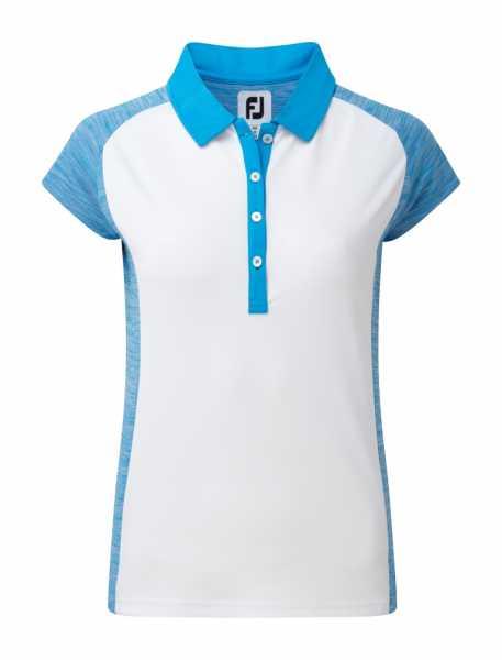 Footjoy Smooth Pique Polo Raglan Damen weiß/stahlblau
