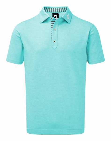 Footjoy Stretch Heather Pique with Stripe Trim Polo Herren blau