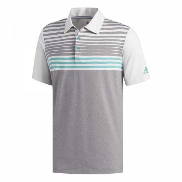 adidas Ultimate365 3-Stripes Heather Polo Herren grau/türkis