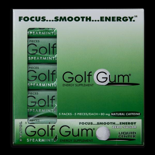 Golf Gum Koffein Kaugummi 5 Pack / 25 Stück