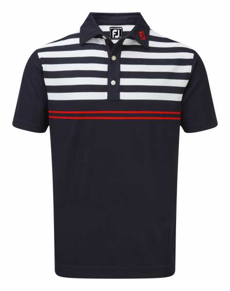 Footjoy Stretch Pique with Graphic Stripes Polo Herren navy/weiß
