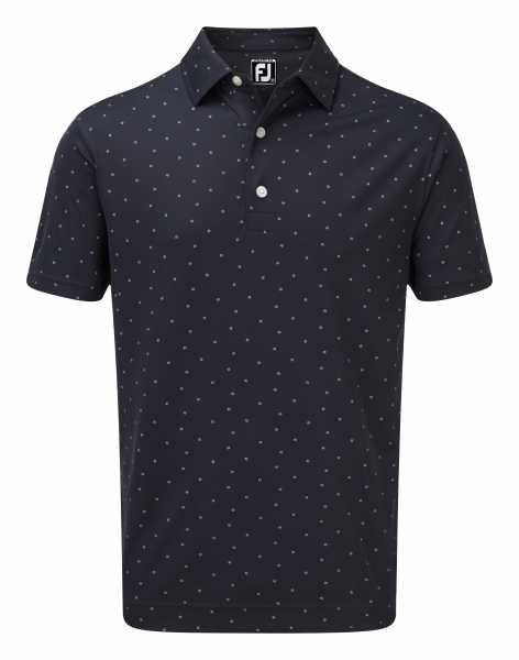 Footjoy Smooth Pique with FJ Print Polo Herren navy/weiß