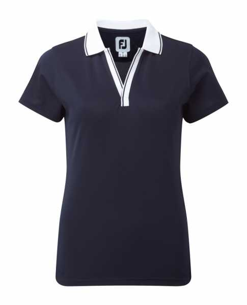 Footjoy Stretch Pique Polo V-Neck Damen blau/weiß