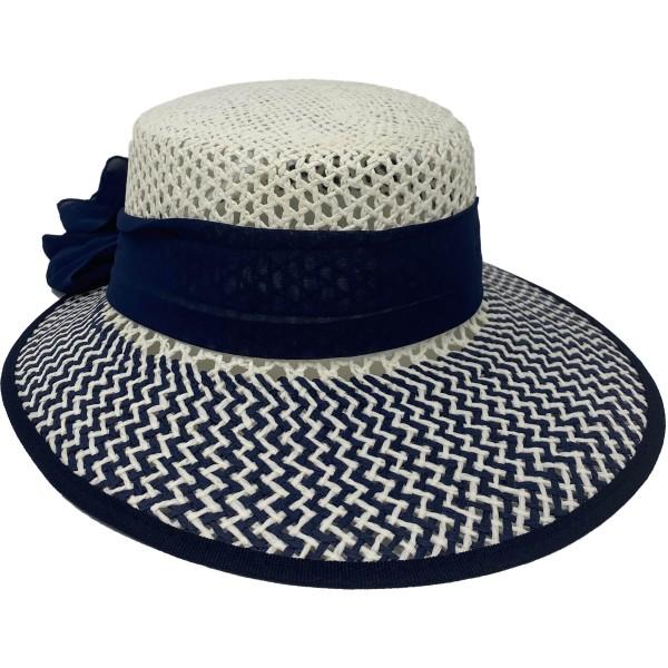ER Panama Hut Damen weiß mit blauer Schleife