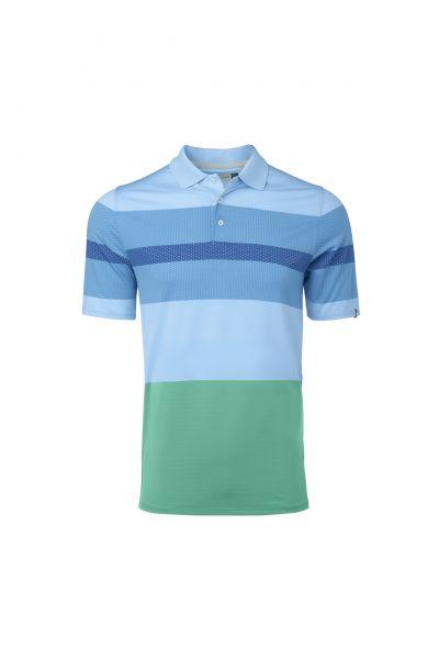 KJUS Engineered Stripe S/S Polo Herren blau/grün