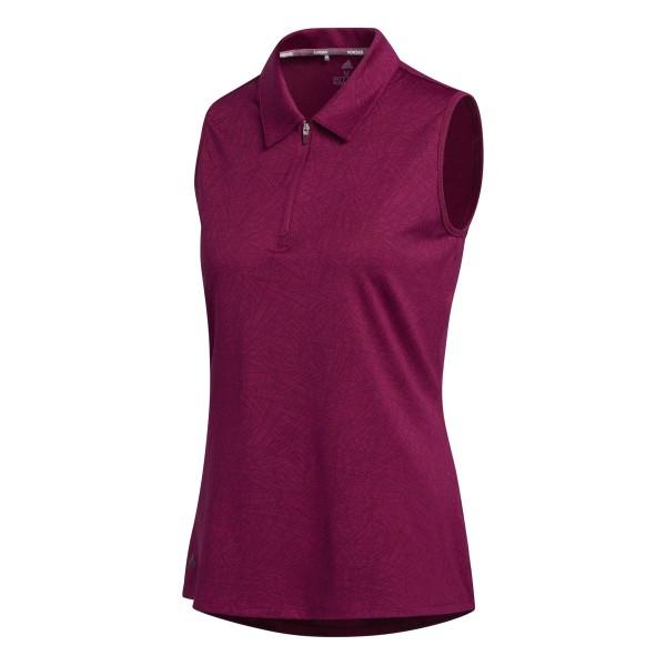 adidas Jaquard sleeveless Polo Damen brombeer
