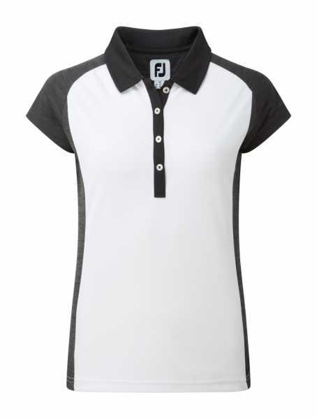 Footjoy Smooth Pique Polo Raglan Damen weiß/schwarz